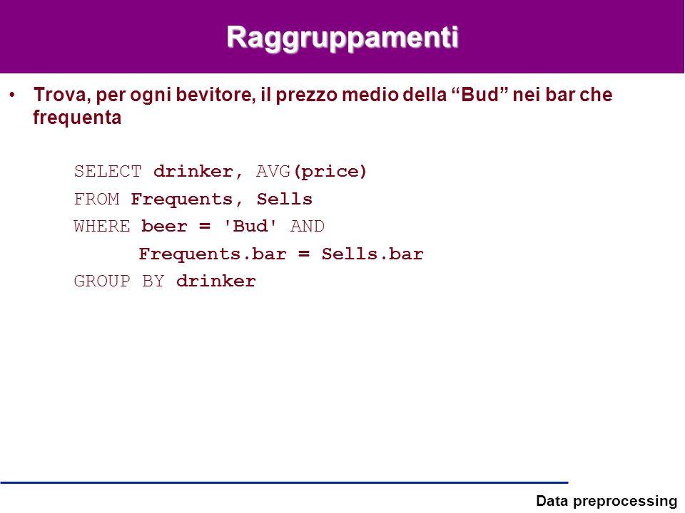 Data preprocessing Raggruppamenti Trova, per ogni bevitore, il prezzo medio della Bud nei bar che frequenta SELECT drinker, AVG(price) FROM Frequents,