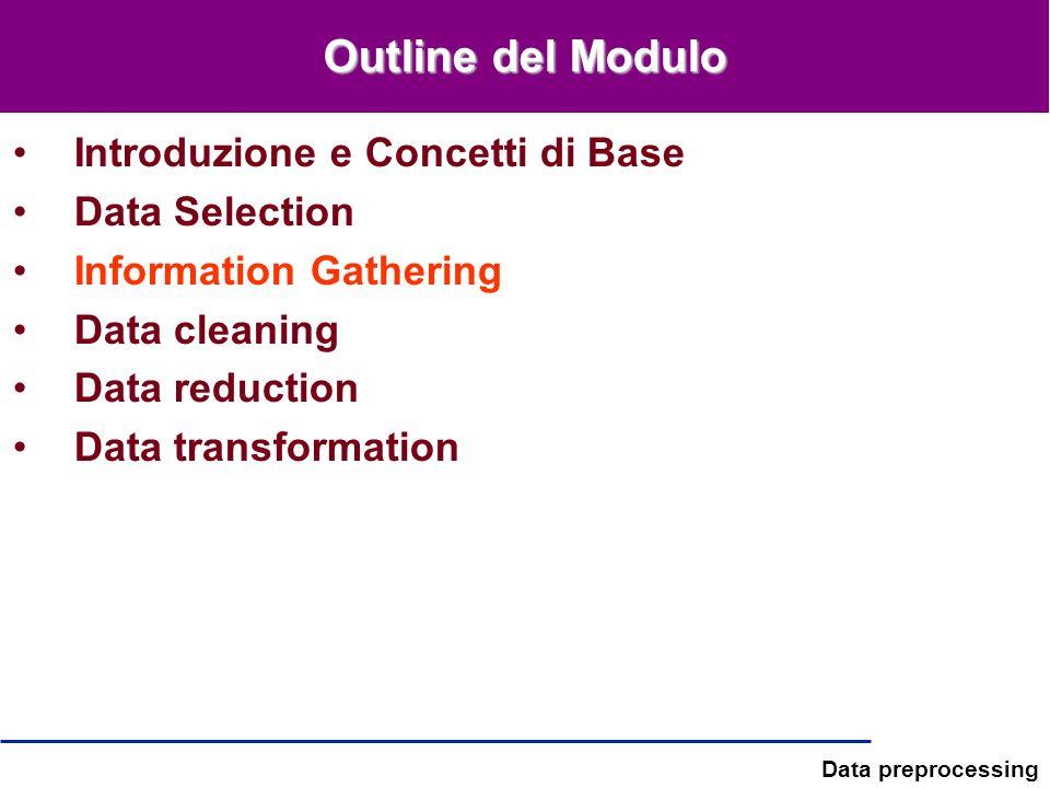 Data preprocessing Outline del Modulo Introduzione e Concetti di Base Data Selection Information Gathering Data cleaning Data reduction Data transform