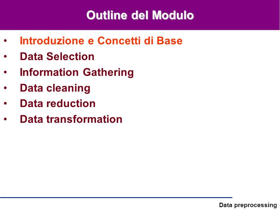 Data preprocessing Dati ordinati Sequenze genomiche