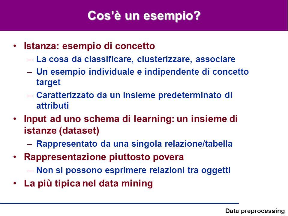 Data preprocessing Cosè un esempio? Istanza: esempio di concetto –La cosa da classificare, clusterizzare, associare –Un esempio individuale e indipend