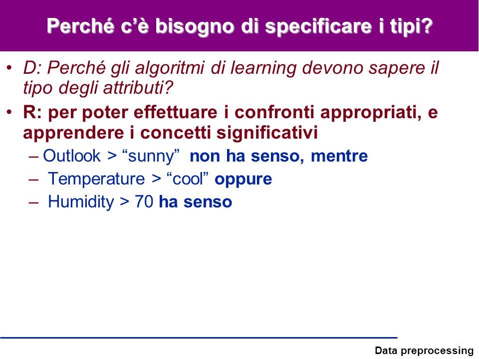 Data preprocessing Perché cè bisogno di specificare i tipi? D: Perché gli algoritmi di learning devono sapere il tipo degli attributi? R: per poter ef