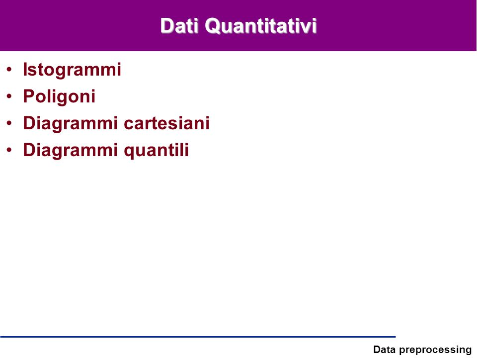 Data preprocessing Dati Quantitativi Istogrammi Poligoni Diagrammi cartesiani Diagrammi quantili