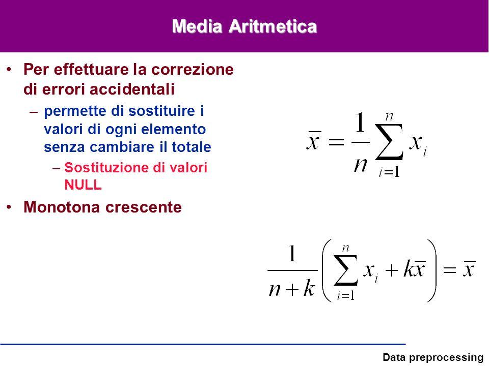 Data preprocessing Media Aritmetica Per effettuare la correzione di errori accidentali –permette di sostituire i valori di ogni elemento senza cambiar