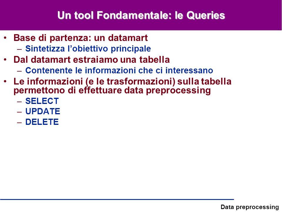 Data preprocessing Un tool Fondamentale: le Queries Base di partenza: un datamart –Sintetizza lobiettivo principale Dal datamart estraiamo una tabella