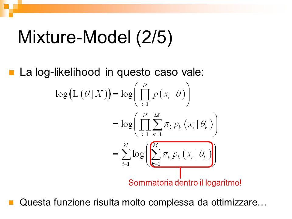 Mixture-Model (2/5) La log-likelihood in questo caso vale: Sommatoria dentro il logaritmo! Questa funzione risulta molto complessa da ottimizzare…