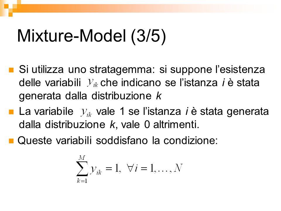 Mixture-Model (3/5) Si utilizza uno stratagemma: si suppone lesistenza delle variabili che indicano se listanza i è stata generata dalla distribuzione