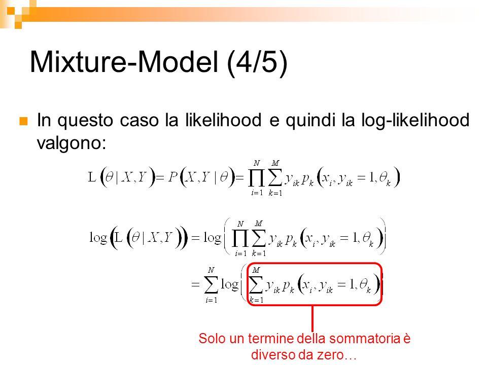 Mixture-Model (4/5) In questo caso la likelihood e quindi la log-likelihood valgono: Solo un termine della sommatoria è diverso da zero…