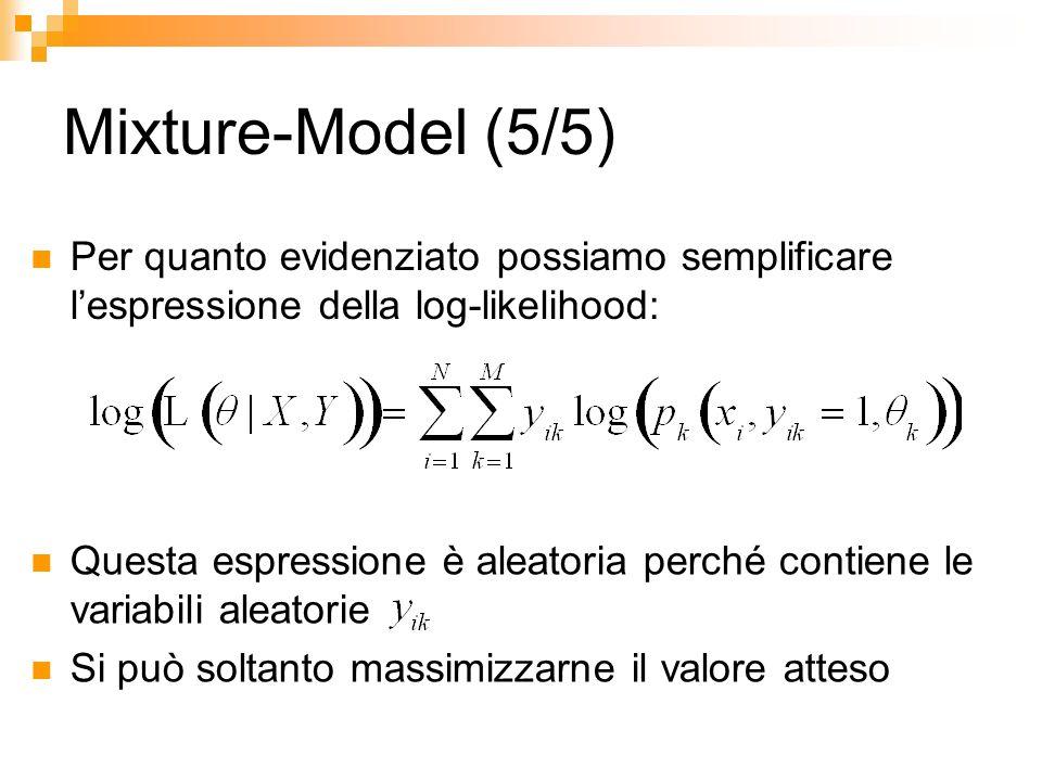 Mixture-Model (5/5) Per quanto evidenziato possiamo semplificare lespressione della log-likelihood: Questa espressione è aleatoria perché contiene le
