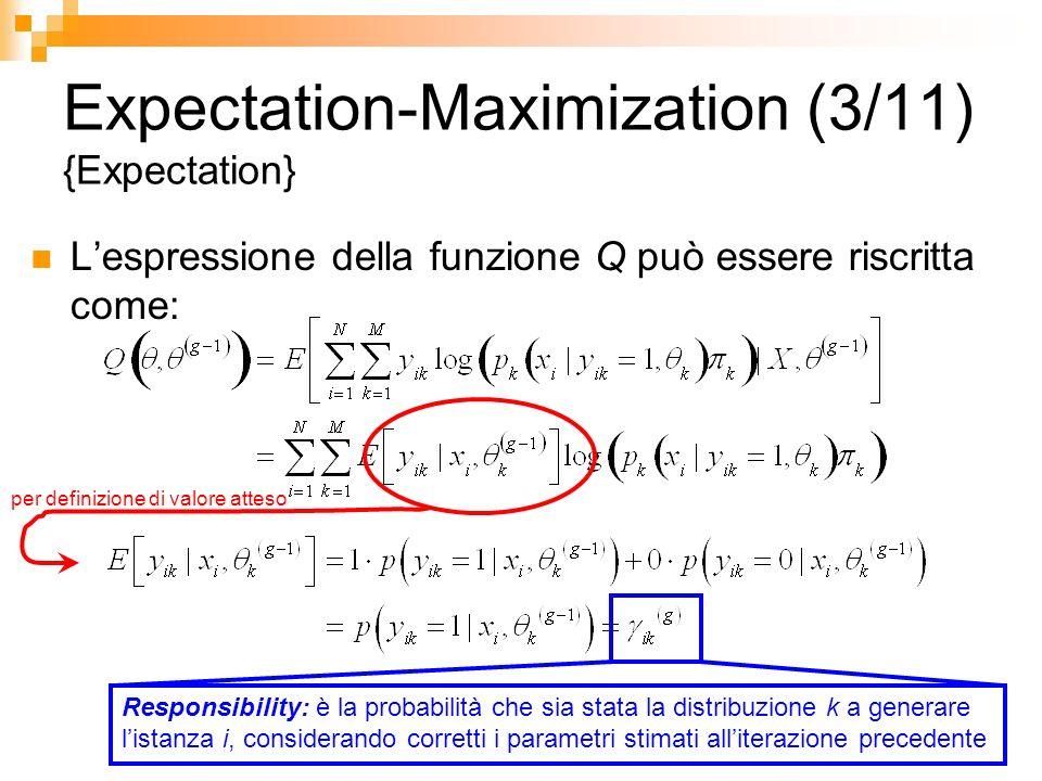Expectation-Maximization (3/11) {Expectation} Lespressione della funzione Q può essere riscritta come: per definizione di valore atteso Responsibility