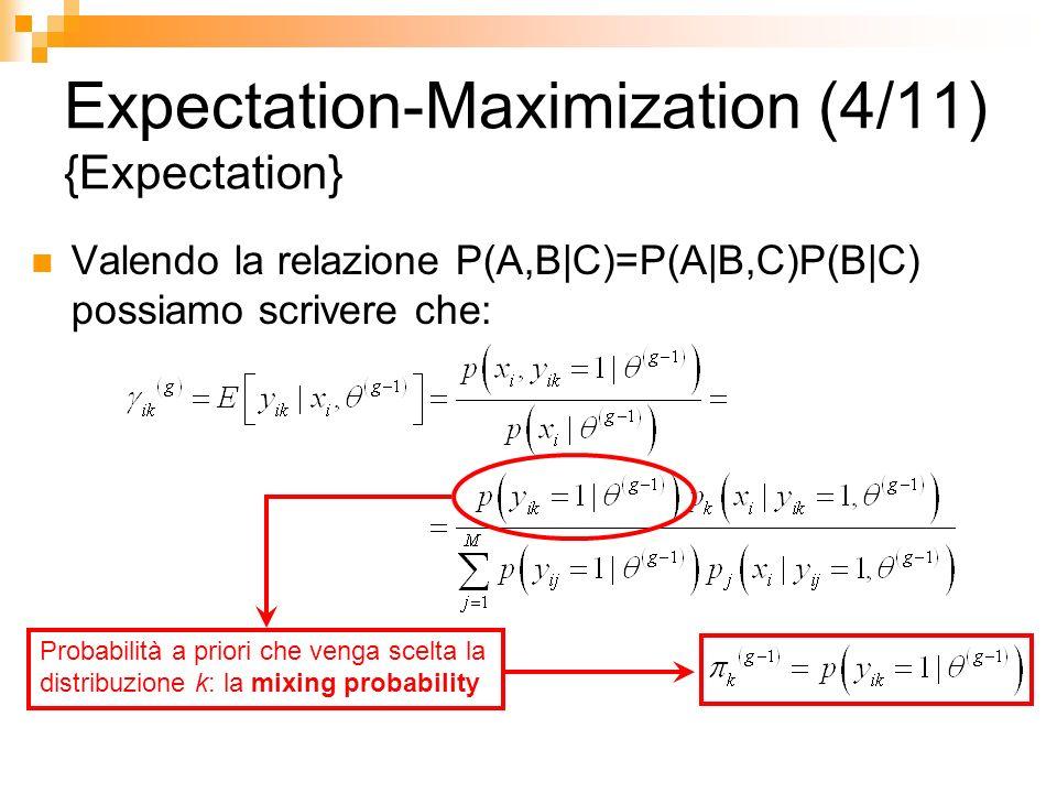 Expectation-Maximization (4/11) {Expectation} Valendo la relazione P(A,B|C)=P(A|B,C)P(B|C) possiamo scrivere che: Probabilità a priori che venga scelt