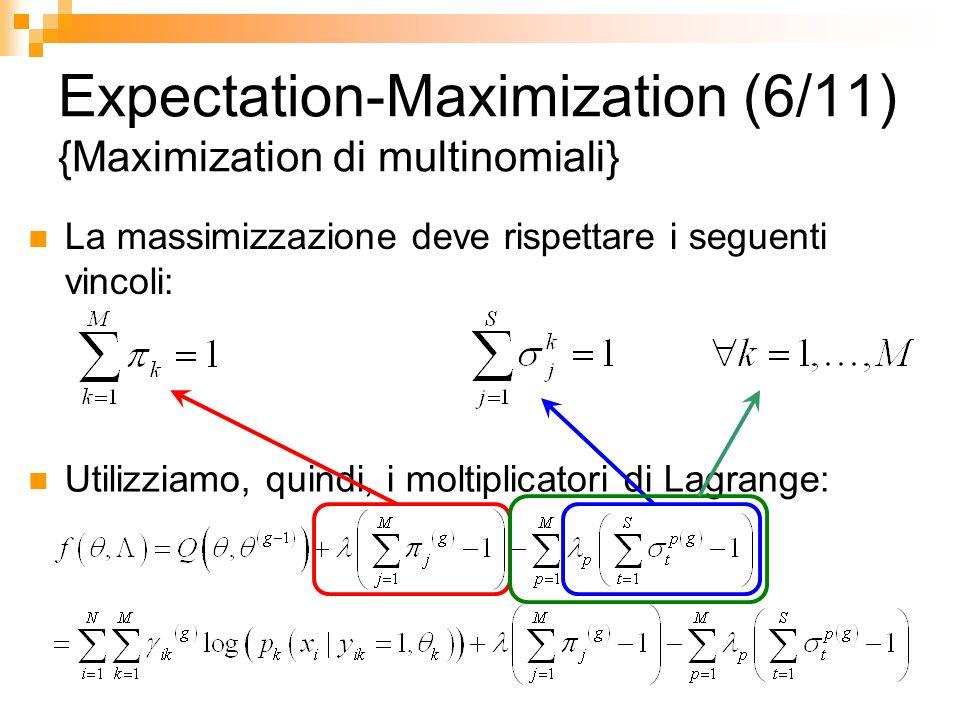 Expectation-Maximization (6/11) {Maximization di multinomiali} La massimizzazione deve rispettare i seguenti vincoli: Utilizziamo, quindi, i moltiplic