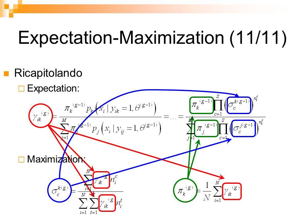 Expectation-Maximization (11/11) Ricapitolando Expectation: Maximization: