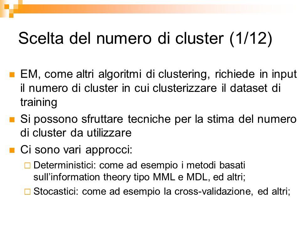 Scelta del numero di cluster (1/12) EM, come altri algoritmi di clustering, richiede in input il numero di cluster in cui clusterizzare il dataset di