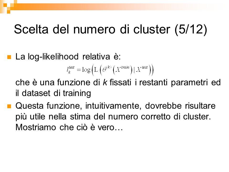 Scelta del numero di cluster (5/12) La log-likelihood relativa è: che è una funzione di k fissati i restanti parametri ed il dataset di training Quest