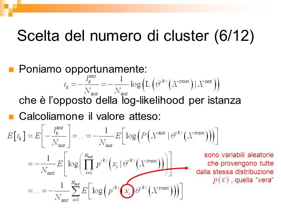 Scelta del numero di cluster (6/12) Poniamo opportunamente: che è lopposto della log-likelihood per istanza Calcoliamone il valore atteso: sono variab