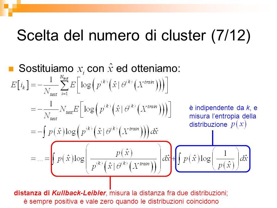 Scelta del numero di cluster (7/12) Sostituiamo con ed otteniamo: distanza di Kullback-Leibler, misura la distanza fra due distribuzioni; è sempre pos