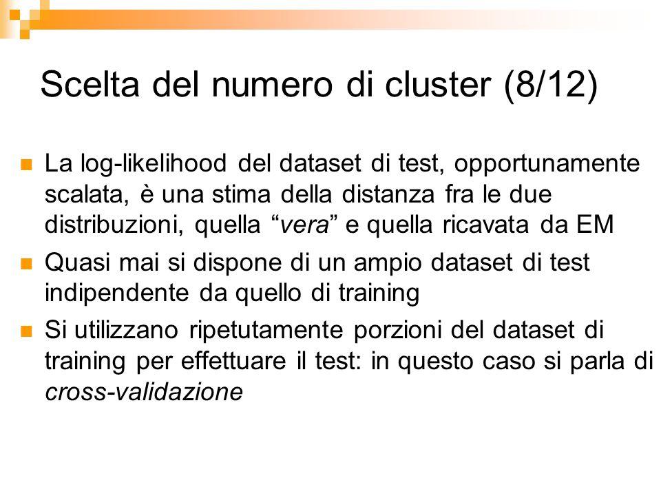 Scelta del numero di cluster (8/12) La log-likelihood del dataset di test, opportunamente scalata, è una stima della distanza fra le due distribuzioni