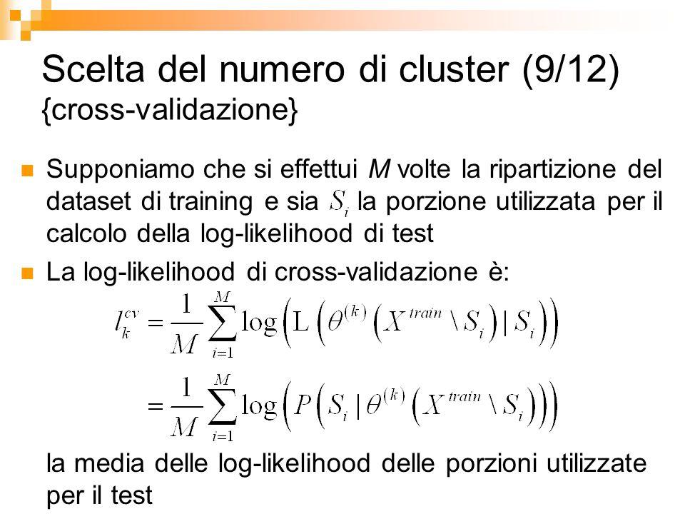 Scelta del numero di cluster (9/12) {cross-validazione} Supponiamo che si effettui M volte la ripartizione del dataset di training e sia la porzione u