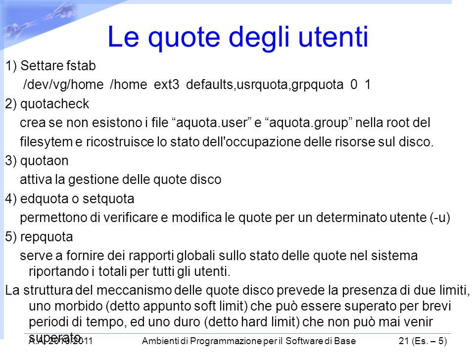 1) Settare fstab /dev/vg/home /home ext3 defaults,usrquota,grpquota 0 1 2) quotacheck crea se non esistono i file aquota.user e aquota.group nella roo