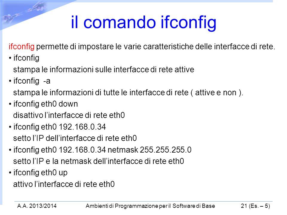 ifconfig permette di impostare le varie caratteristiche delle interfacce di rete. ifconfig stampa le informazioni sulle interfacce di rete attive ifco