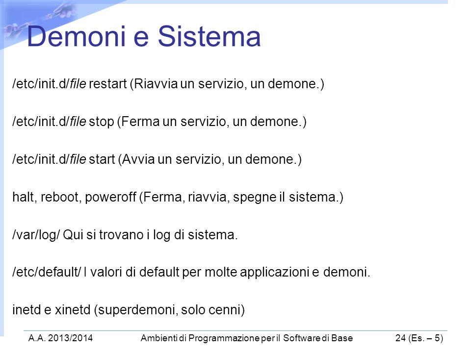 /etc/init.d/file restart (Riavvia un servizio, un demone.) /etc/init.d/file stop (Ferma un servizio, un demone.) /etc/init.d/file start (Avvia un serv