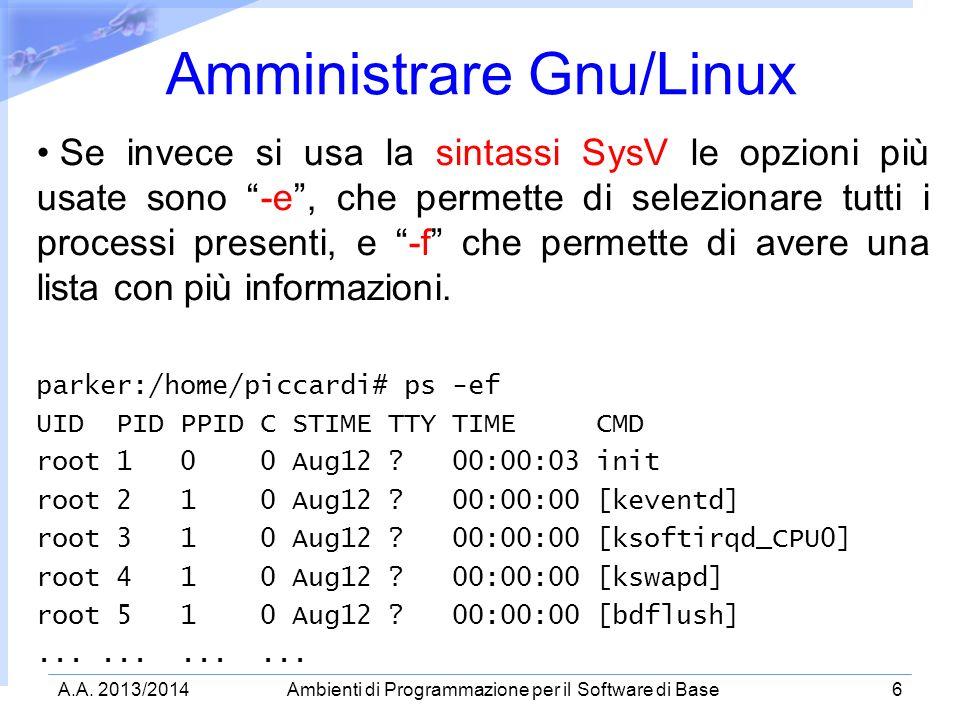 A.A. 2013/2014Ambienti di Programmazione per il Software di Base6 Amministrare Gnu/Linux Se invece si usa la sintassi SysV le opzioni più usate sono -
