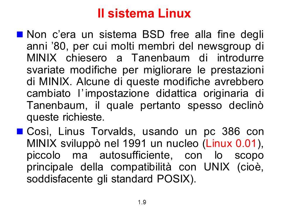 1.9 Il sistema Linux Non cera un sistema BSD free alla fine degli anni 80, per cui molti membri del newsgroup di MINIX chiesero a Tanenbaum di introdurre svariate modifiche per migliorare le prestazioni di MINIX.