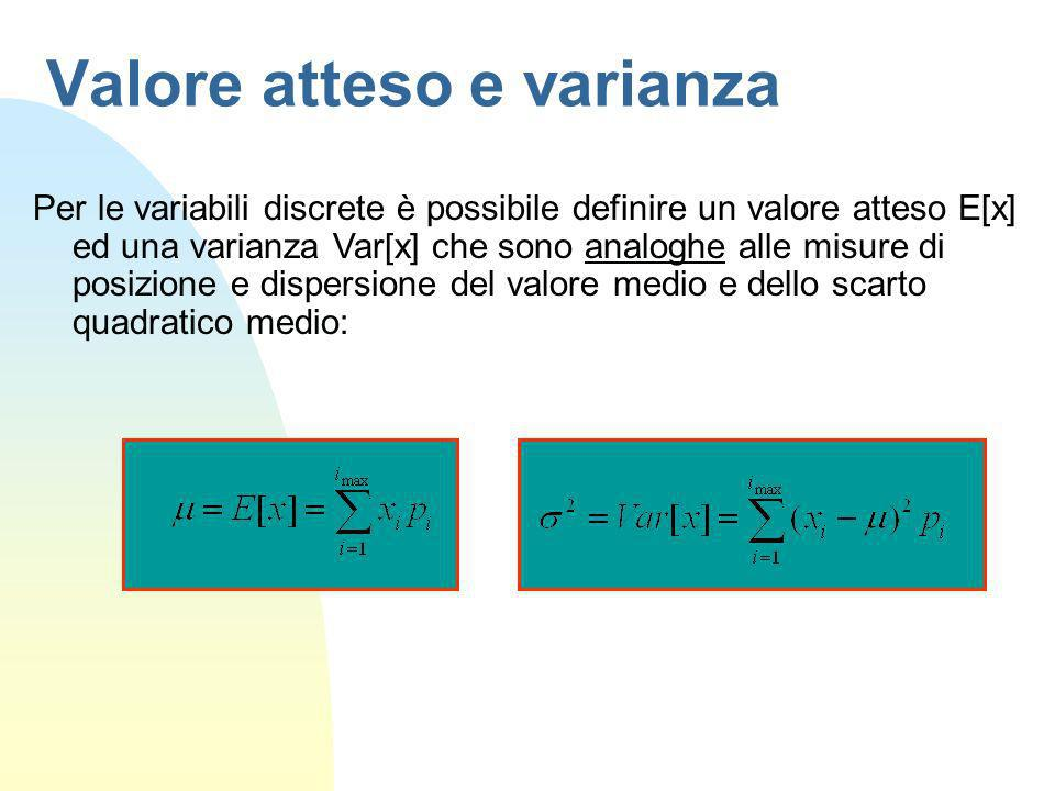 Valore atteso e varianza Per le variabili discrete è possibile definire un valore atteso E[x] ed una varianza Var[x] che sono analoghe alle misure di