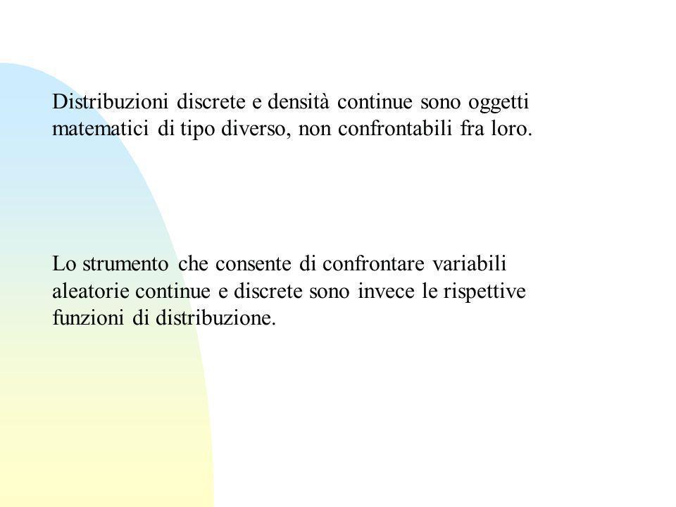 Distribuzioni discrete e densità continue sono oggetti matematici di tipo diverso, non confrontabili fra loro. Lo strumento che consente di confrontar
