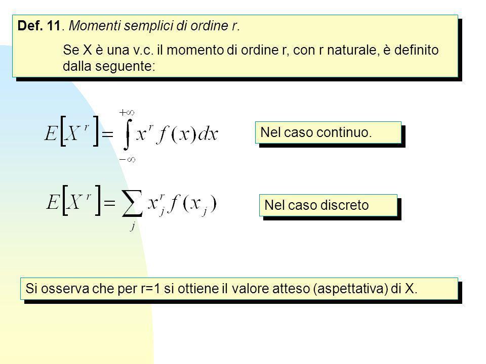 Def. 11. Momenti semplici di ordine r. Se X è una v.c. il momento di ordine r, con r naturale, è definito dalla seguente: Def. 11. Momenti semplici di