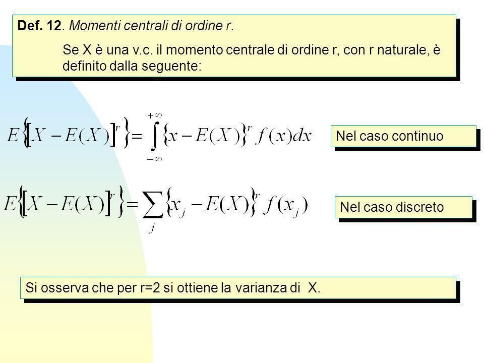 Def. 12. Momenti centrali di ordine r. Se X è una v.c. il momento centrale di ordine r, con r naturale, è definito dalla seguente: Def. 12. Momenti ce