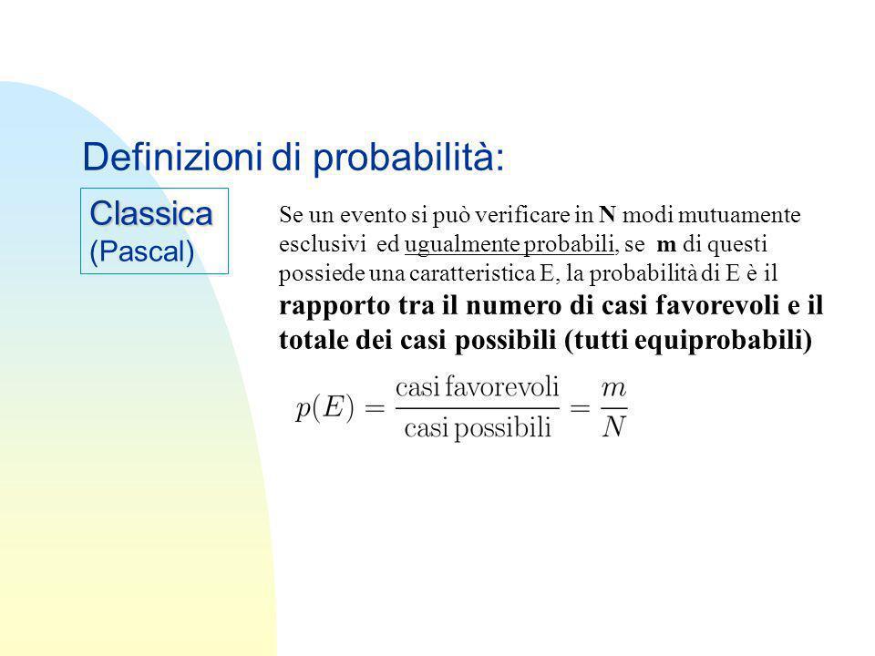 Classica (Pascal) Definizioni di probabilità: Se un evento si può verificare in N modi mutuamente esclusivi ed ugualmente probabili, se m di questi po