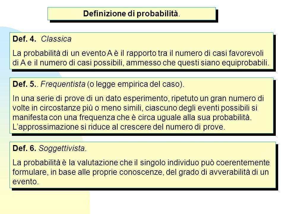 Def. 4. Classica La probabilità di un evento A è il rapporto tra il numero di casi favorevoli di A e il numero di casi possibili, ammesso che questi s