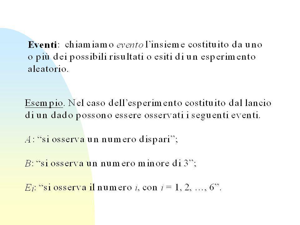 Spazio campione: Insieme S di tutti i risultati dellesperimento Esempio: Nel caso del lancio di una moneta S={Testa, Croce} Nel caso dei numeri di lanci di un dado necessari per avere 6 S= N ( numeri naturali)