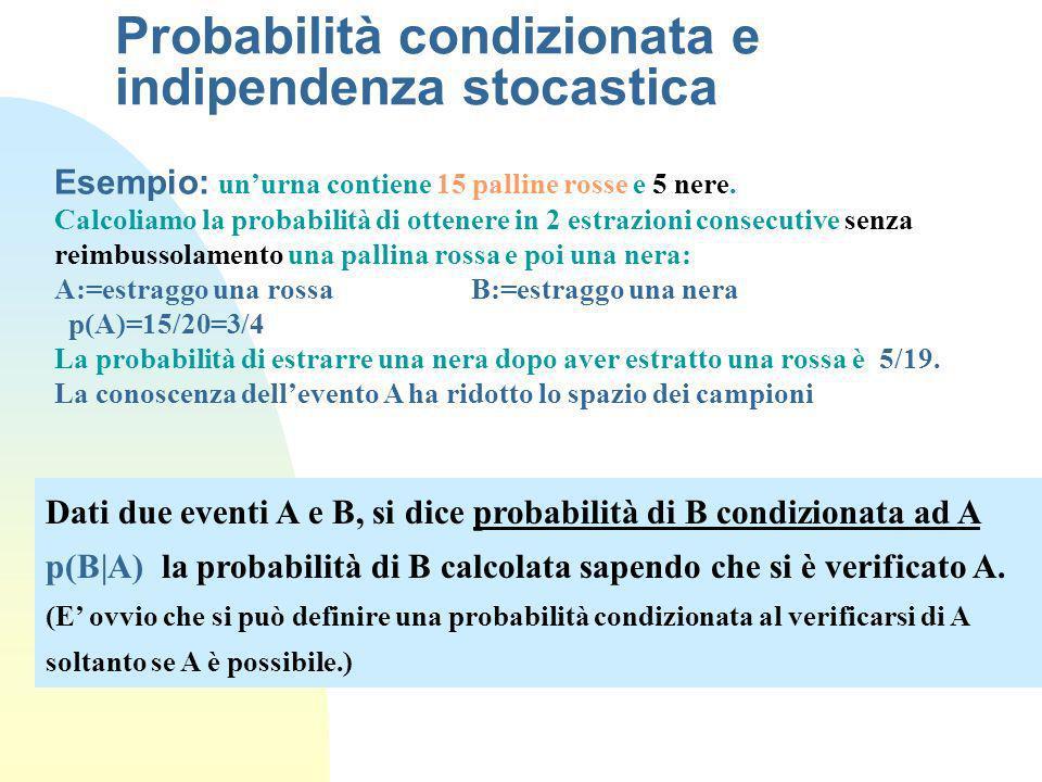 Probabilità condizionata e indipendenza stocastica Dati due eventi A e B, si dice probabilità di B condizionata ad A p(B|A) la probabilità di B calcol