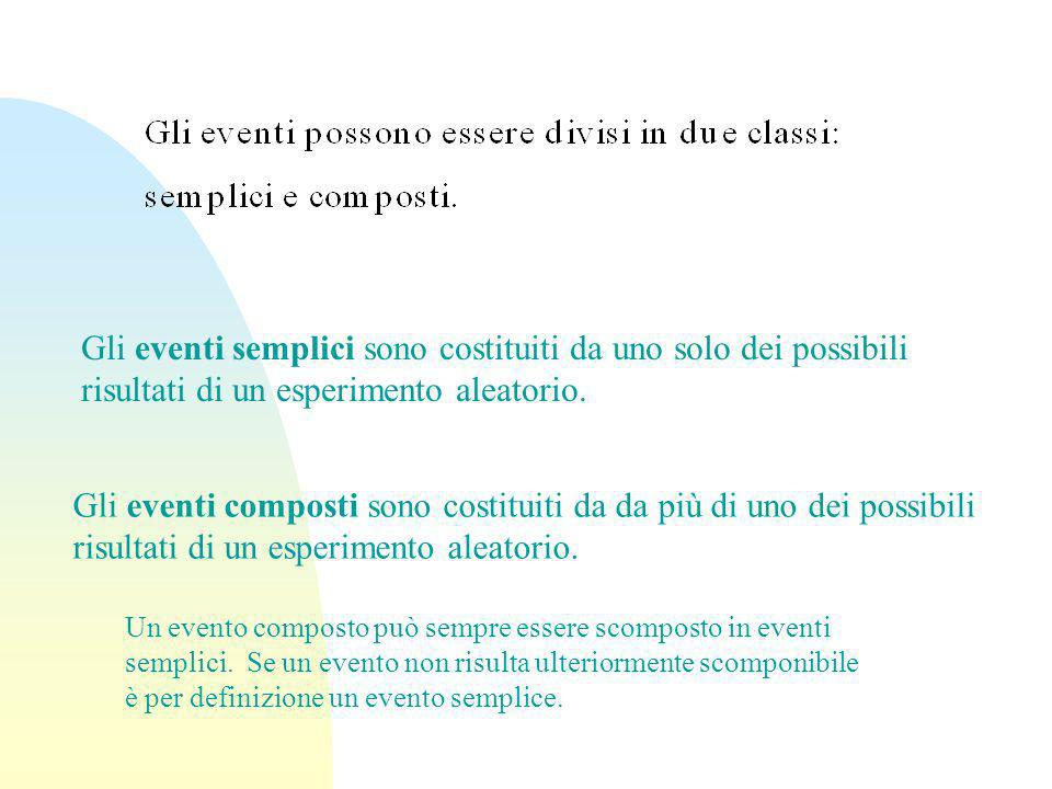 Gli eventi semplici sono costituiti da uno solo dei possibili risultati di un esperimento aleatorio. Gli eventi composti sono costituiti da da più di