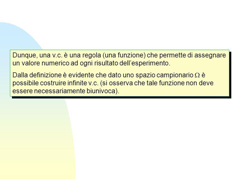Dunque, una v.c. è una regola (una funzione) che permette di assegnare un valore numerico ad ogni risultato dellesperimento. Dalla definizione è evide