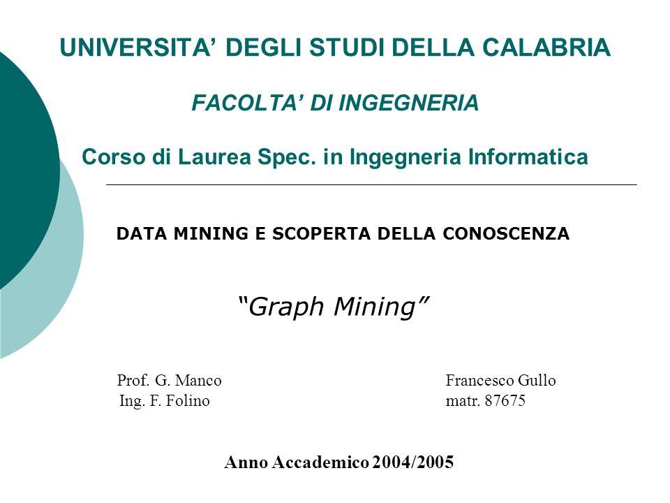 UNIVERSITA DEGLI STUDI DELLA CALABRIA FACOLTA DI INGEGNERIA Corso di Laurea Spec. in Ingegneria Informatica Graph Mining Prof. G. Manco Francesco Gull