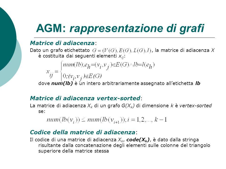 AGM: rappresentazione di grafi Matrice di adiacenza: Dato un grafo etichettato, la matrice di adiacenza X è costituita dai seguenti elementi x ij : do