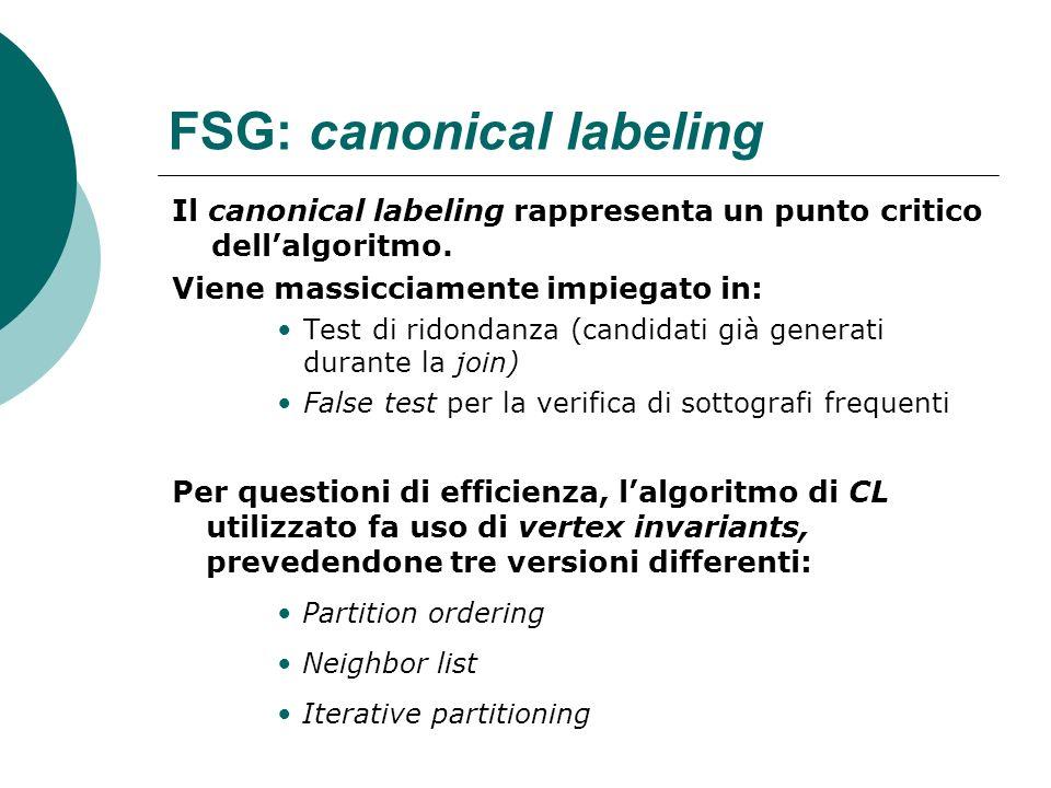 FSG: canonical labeling Il canonical labeling rappresenta un punto critico dellalgoritmo. Viene massicciamente impiegato in: Test di ridondanza (candi
