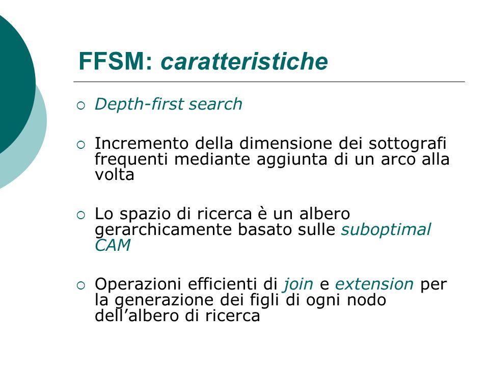 FFSM: caratteristiche Depth-first search Incremento della dimensione dei sottografi frequenti mediante aggiunta di un arco alla volta Lo spazio di ric