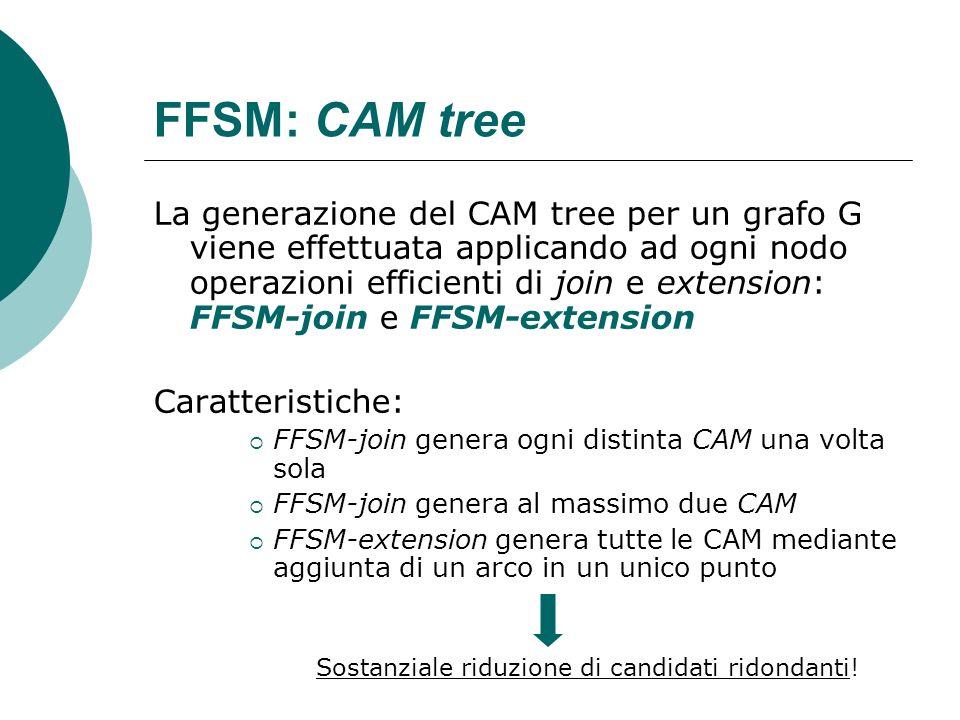 FFSM: CAM tree La generazione del CAM tree per un grafo G viene effettuata applicando ad ogni nodo operazioni efficienti di join e extension: FFSM-joi