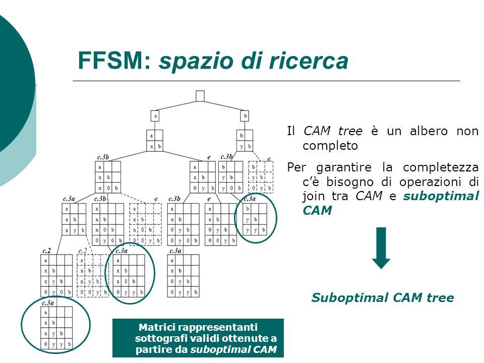 FFSM: spazio di ricerca Il CAM tree è un albero non completo Per garantire la completezza cè bisogno di operazioni di join tra CAM e suboptimal CAM Su