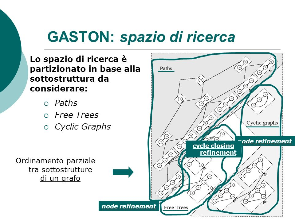 GASTON: spazio di ricerca Paths Free Trees Cyclic Graphs Ordinamento parziale tra sottostrutture di un grafo node refinement cycle closing refinement