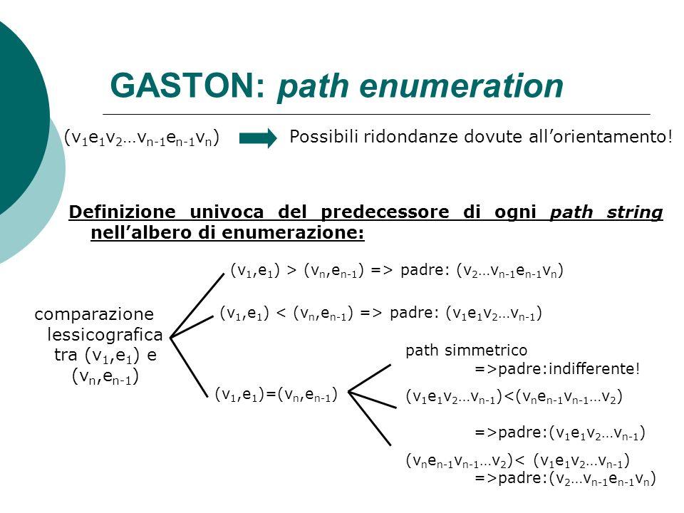 GASTON: path enumeration (v 1 e 1 v 2 …v n-1 e n-1 v n )Possibili ridondanze dovute allorientamento! comparazione lessicografica tra (v 1,e 1 ) e (v n