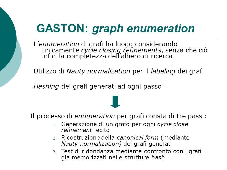 GASTON: graph enumeration Lenumeration di grafi ha luogo considerando unicamente cycle closing refinements, senza che ciò infici la completezza dellal