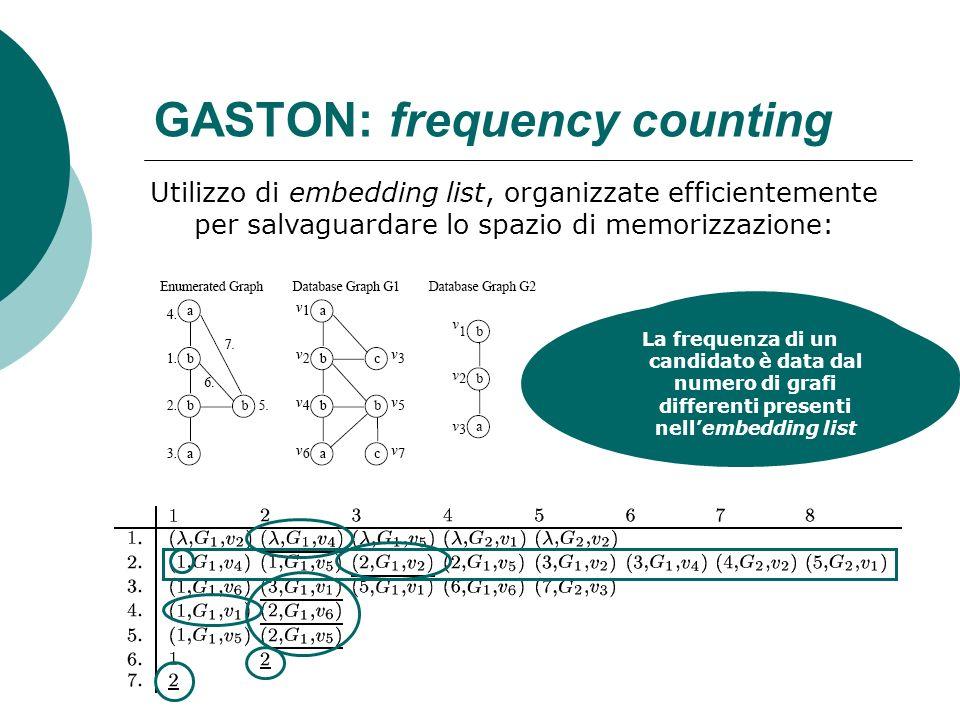 GASTON: frequency counting Utilizzo di embedding list, organizzate efficientemente per salvaguardare lo spazio di memorizzazione: Ogni riga contiene l