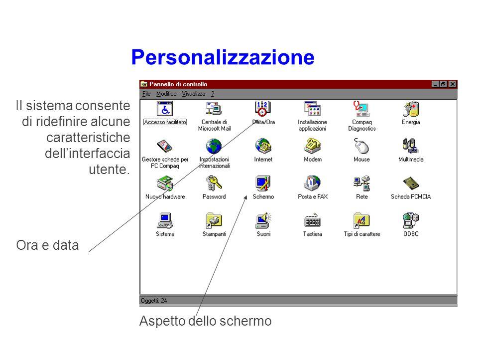 Personalizzazione Ora e data Aspetto dello schermo Il sistema consente di ridefinire alcune caratteristiche dellinterfaccia utente.