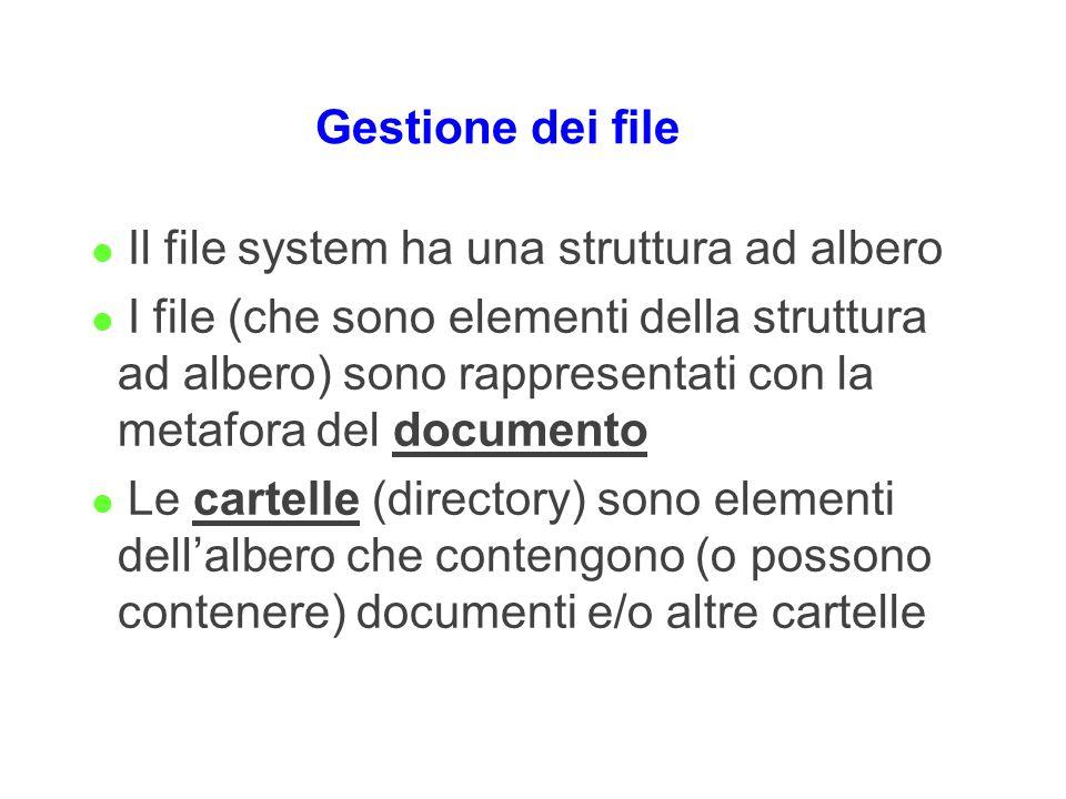 Gestione dei file l Il file system ha una struttura ad albero l I file (che sono elementi della struttura ad albero) sono rappresentati con la metafor