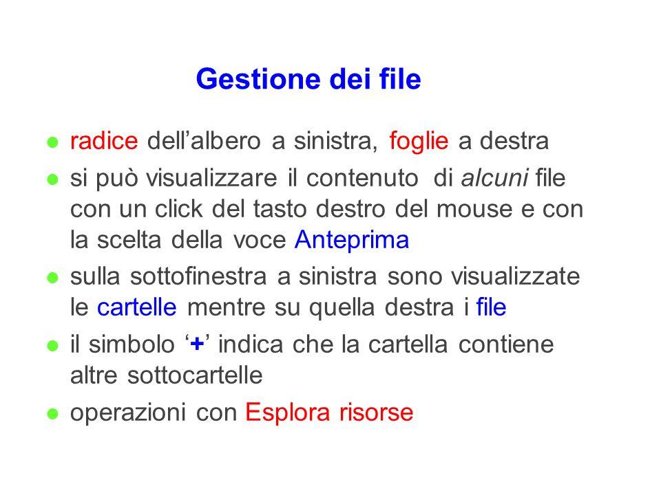 Gestione dei file l radice dellalbero a sinistra, foglie a destra l si può visualizzare il contenuto di alcuni file con un click del tasto destro del